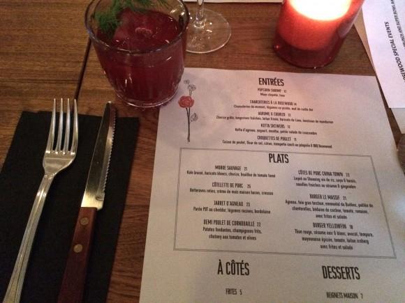 Rosewood menu